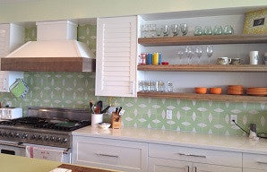 Soothing Two-Tone Cement Tile Creates Kitchen Calm