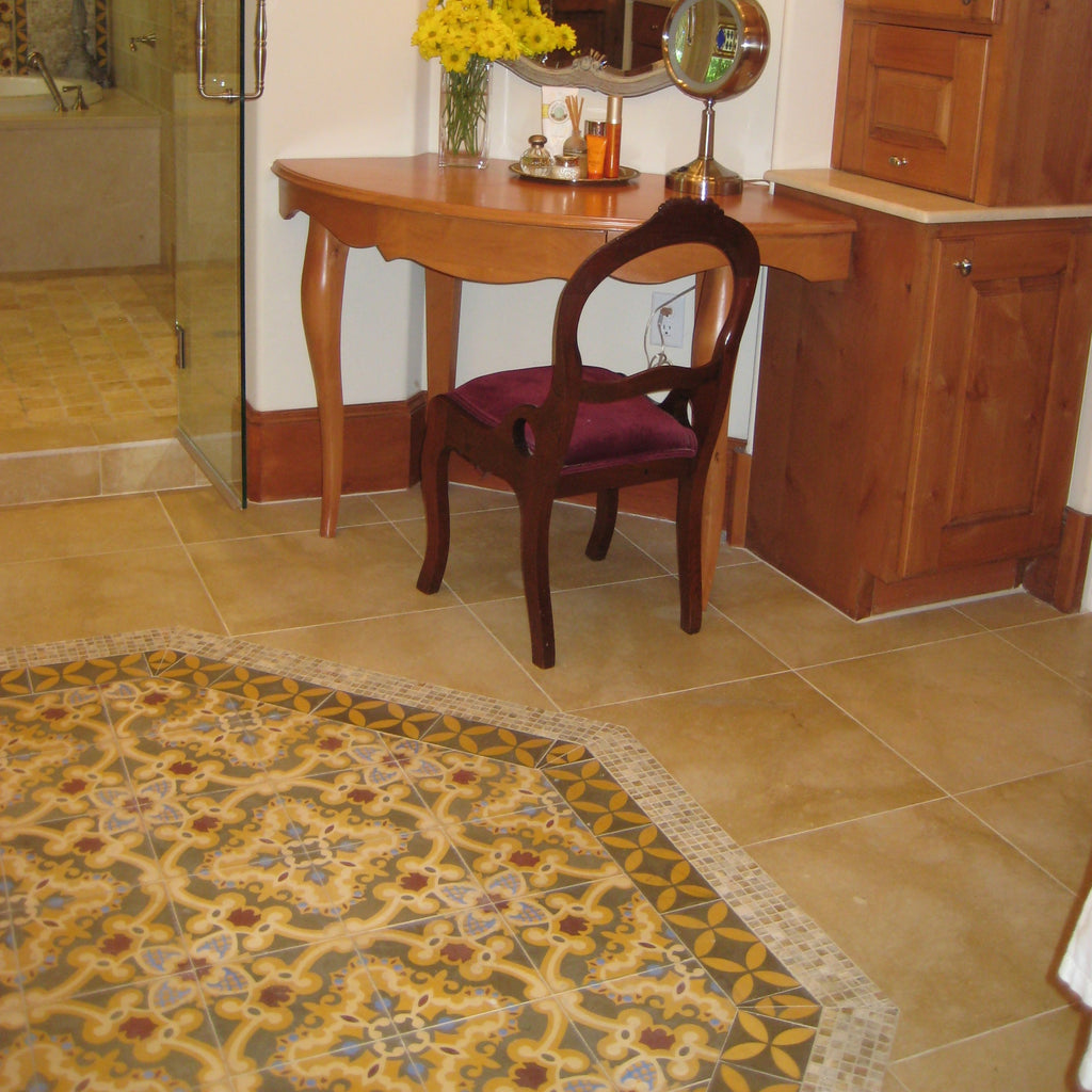 Cement Tile Rug Adds Glamour to Master Bath
