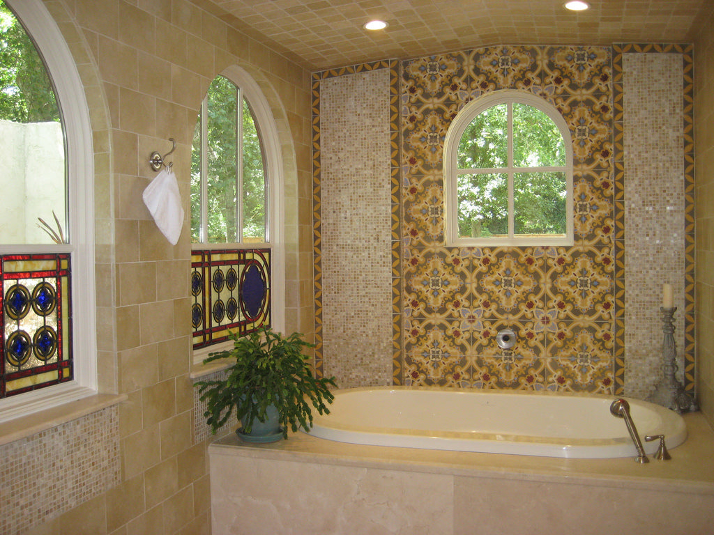 Cement Tile Wall Brings Warmth to Bath Space
