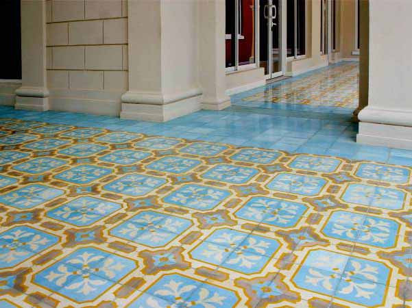 Cement Tile Provide Durability and Richness to Outside Commercial Breezeway