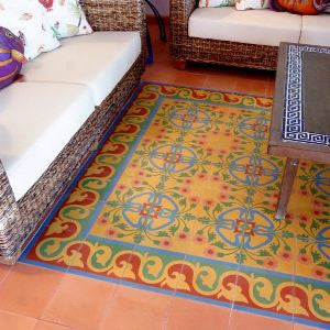 Cement Tile Rug Adds Color and Charm to Living Room