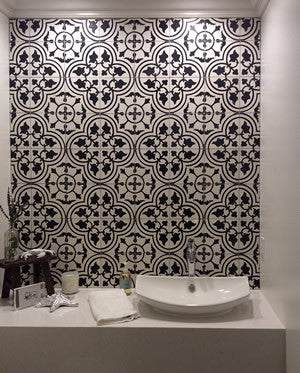 Cement Tile Backsplash Creates Elegant Powder Room Backdrop