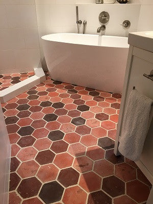 Warm Color Blend of Hexagon Tile Makes for a Cool Bath