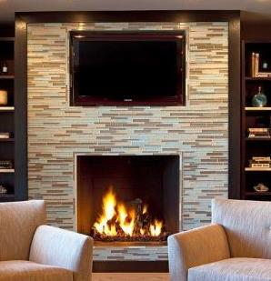 Reflect the room's color scheme in your choice of fireplace tile