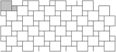A pinwheel pattern for tile often uses two different sizes of square tile.