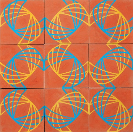 The influence of Lama's graphic design and lithography are apparent in this cement tile pattern.
