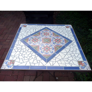 Mosaic Tile Table featuring Hand-Painted Spanish Andalucia Ceramic Tile
