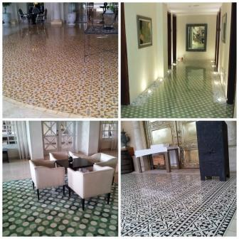 Commercial cement tile installations collage