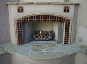 Patio Fireplace with Sangria Red Tiles
