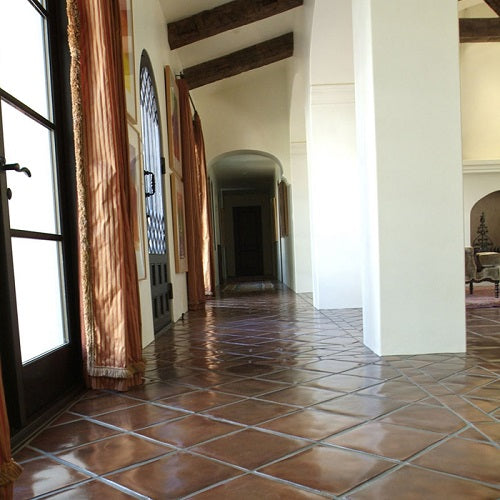 Rustic pavers in Classic Colors have the time-worn look of vintage Spanish floor tile.