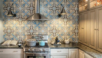 Kitchen Backsplash with Cuban Heritage Cement