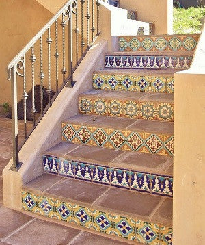 Stair Risers Adorned with Different Decorative Malibu Tiles