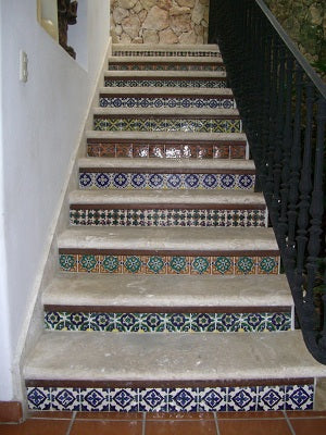 Stair Riser Tile Idea using a different pattern on each row