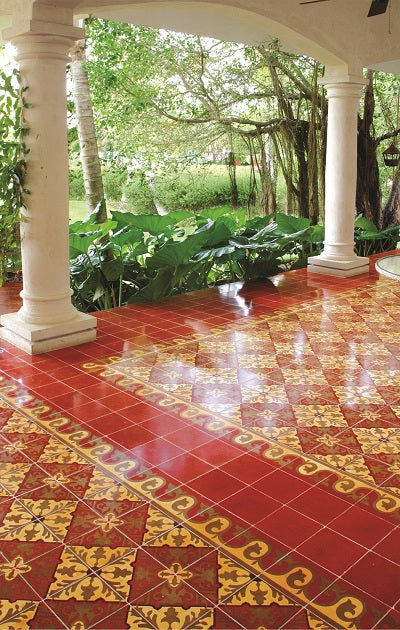 Traditional Alcala Cement Tile Patio
