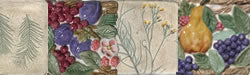 Hand Painted Leaf Imprint Tiles and Garden Vegetable Tiles for Kitchens