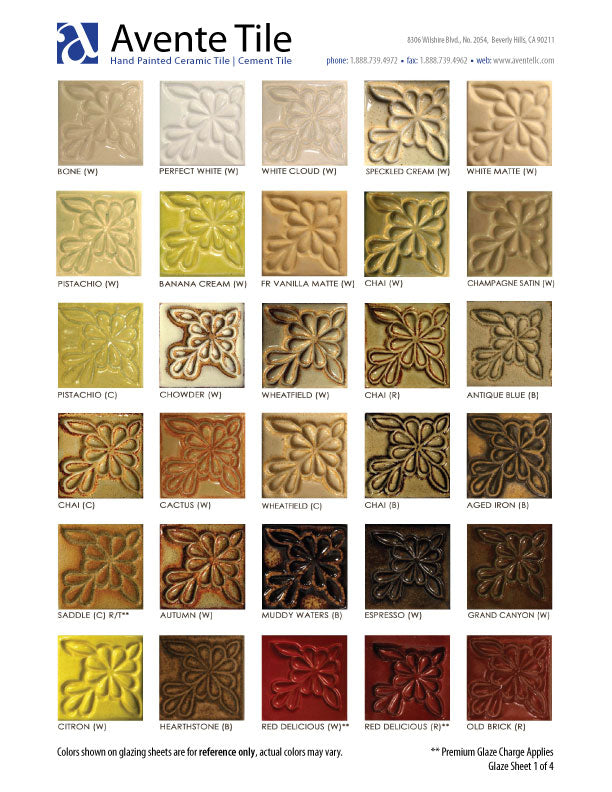 Sculptural Relief Tile Glaze Colors - page 1 of 4