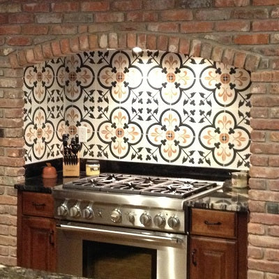 Custom Cement Tile Design for Kitchen Backsplash