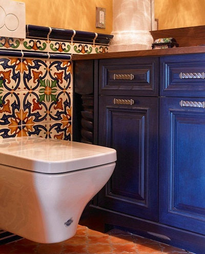 Decorative Spanish Wall Tile in Powder Room