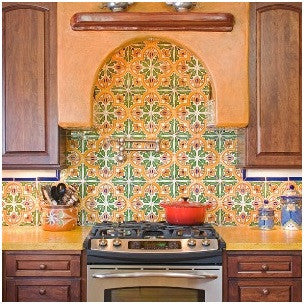 A bright bold backsplash using Barcelona San Jose 6″ x 6″ pairs nicely with a simple solid-color counter.