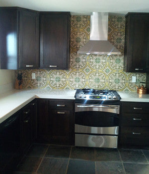An Eye-Catching Cuban Cement Tile Kitchen Backsplash
