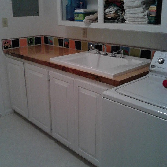 An accent strip blends Avente's Animal Tile with brightly colored plain tile to add fun to this utility room.