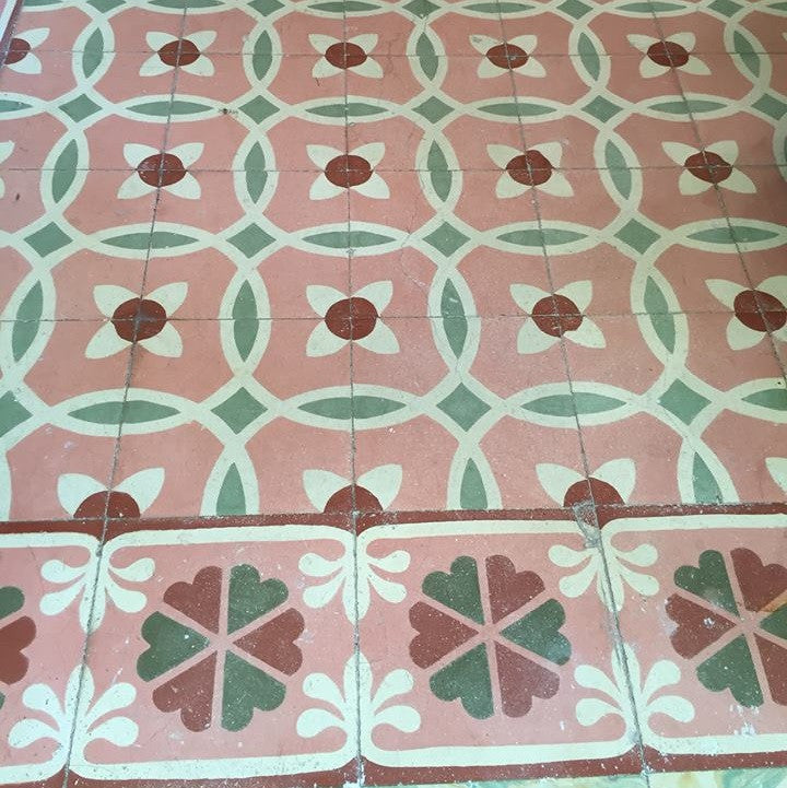 Aqua, turquoise, pink and red were defining colors for Cuban tiles from the 1920's
