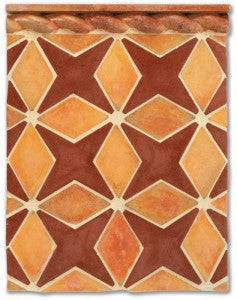 Arabesque 4 in Mission Red & Tuscan Mustard with Malibu Deco