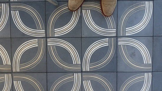 Avente's encaustic cement tile pattern, Union 1A, is part of the Artist series