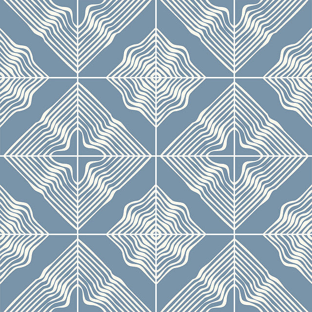 Cement tile floor pattern using Wave in Stormy Blue and White