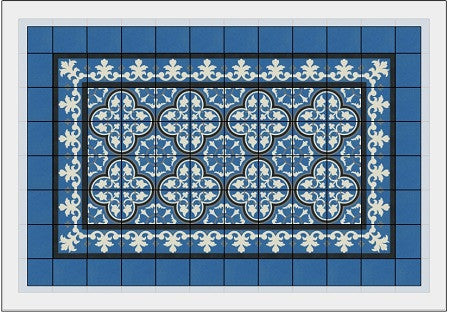 Rendering of a Cement Tile Rug with Border and Plain Tile