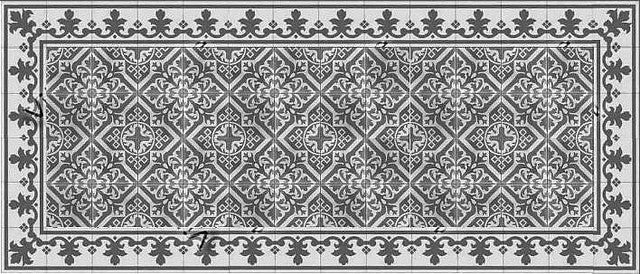 New Castle pattern with Queen Border in Charcoal and Grey