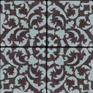 Traditional rug layout using patterned cement tile for the rug and border.