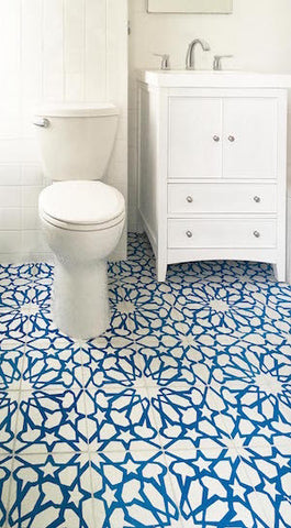 Cement Tile Add Color, Pattern to Bathroom Floor