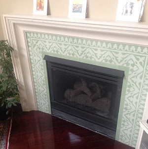Cement Tile Border in Pale Greens Light-Up a Fireplace