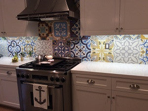 Cement Tile Patchwork Makes Kitchen Backsplash Sing