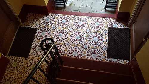 Cement Tile Pattern in Warm Colors