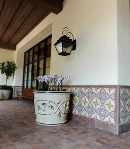 Cement Tile Wainscoting Creates Outdoor Harmony