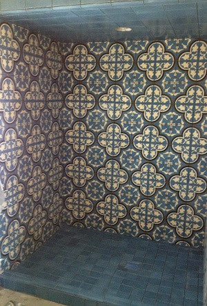 Cement Tile in Cool Blue with Bold Pattern Make a Splash in Bathroom