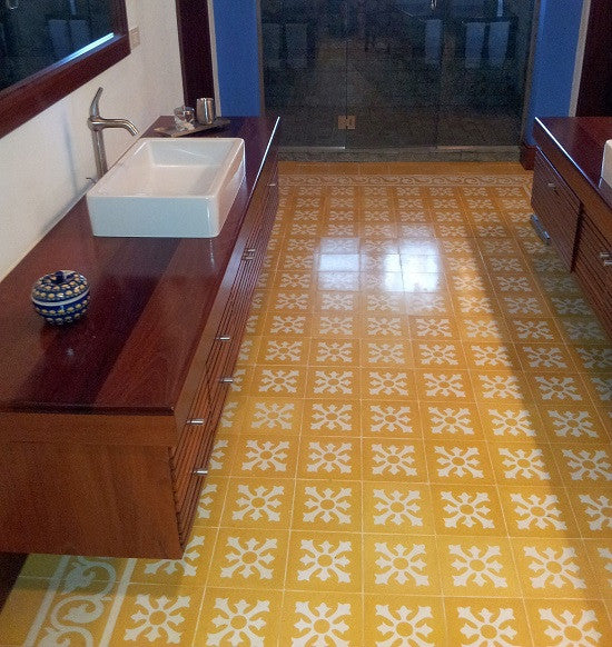 Cement tiles with a geometric pattern are also a pmet