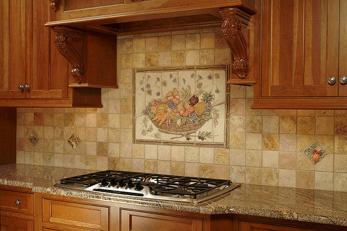 Fruit, vegetable and flowers are a classic kitchen theme for a kitchen backsplash.