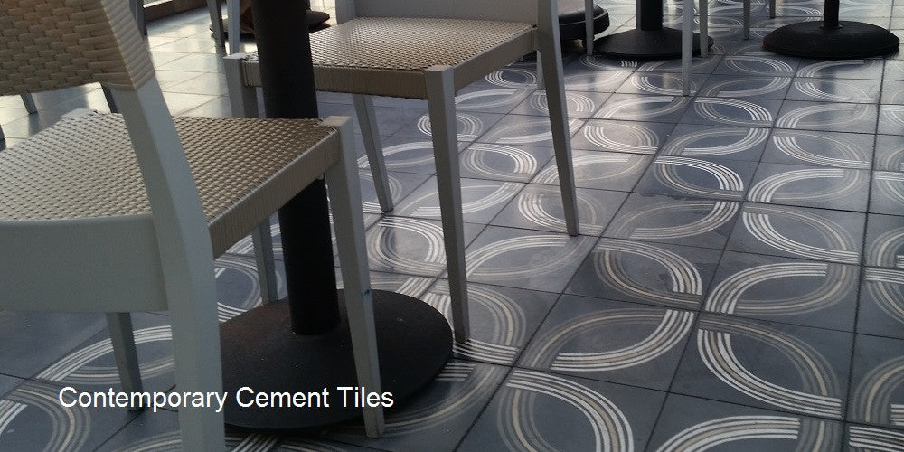 Cement Tile in Contemporary Patterns with Clean Lines Provide a Modern Look
