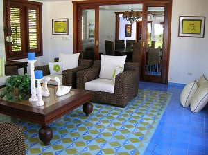 Contemporary Cement Tile Pattern Creates Mediterranean Feel
