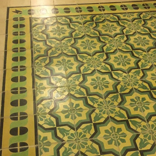 Cool tropical colors - like the greens in shown here - are common in Cuban tiles
