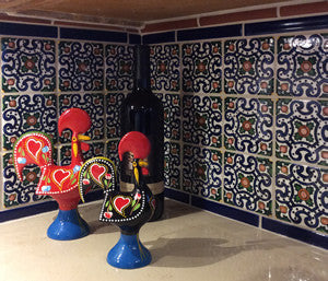 Portuguese tiles provide Old World charm in in this kitchen.