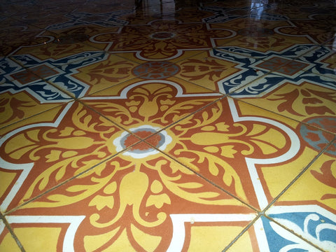 Close-up of Cuban Heritage Cement Tile Design CH110-3B