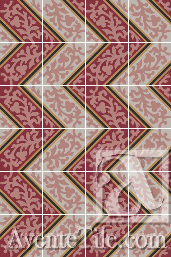 A Chevron Pattern is created using the Cuban Heritage Design 260 1A