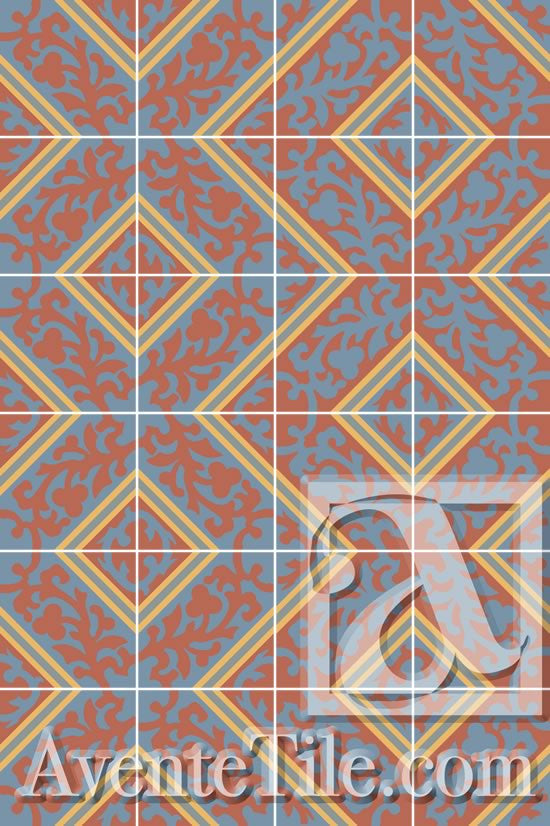 Cuban Heritage Design 260 3B Cement Tile Pattern