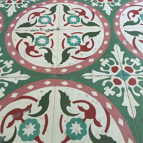 Cuban cement tile patterns often used stylized floral motifs in the design