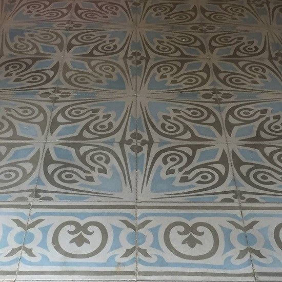 A tile rug with Cuban Cement Tile patterns