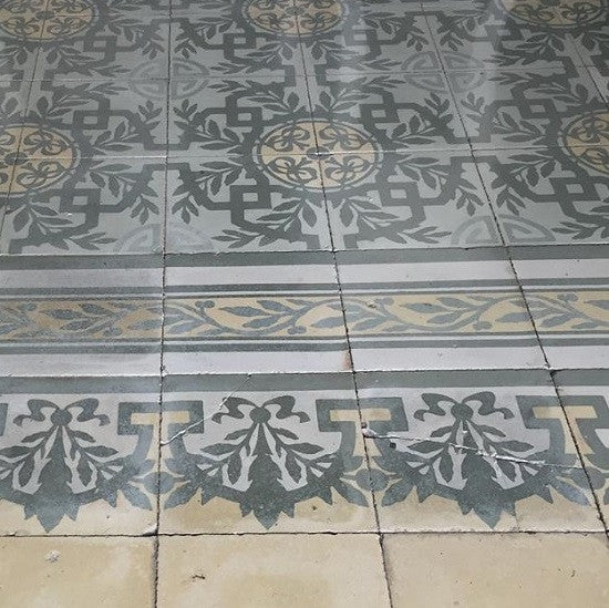 Cuban tile patterns often make use of double borders like the unusual one shown here